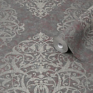 Graham & Brown Boutique Maroon Shiraz Metallic effect Textured Wallpaper