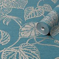 Graham & Brown Boutique Teal Betel Metallic effect Textured Wallpaper
