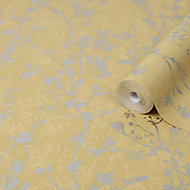 Graham & Brown Boutique Yellow Silhouette spring Metallic effect Textured Wallpaper