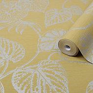 Graham & Brown Boutique Ochre Betel Metallic effect Textured Wallpaper
