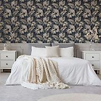 Graham & Brown Boutique Multicolour Tropical Metallic effect Textured Wallpaper