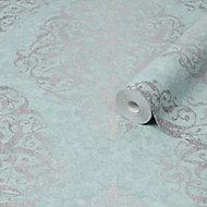 Graham & Brown Boutique Teal & green Damask Metallic effect Textured Wallpaper