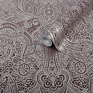 Graham & Brown Superfresco Easy Purple Henna damask Metallic effect Textured Wallpaper