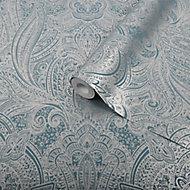 Graham & Brown Superfresco Easy Teal Henna damask Metallic effect Textured Wallpaper