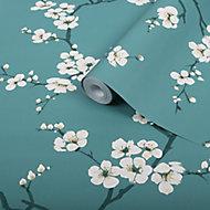 Graham & Brown Superfresco Easy Teal Blossom flower Wallpaper