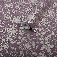 Graham & Brown Superfresco Easy Plum Whisper Metallic effect Wallpaper