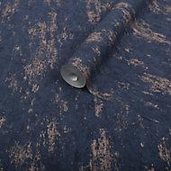 Graham & Brown Superfresco Easy Navy Concrete Copper effect Textured Wallpaper