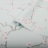 Graham & Brown Superfresco Easy Mint Blossom flower Wallpaper