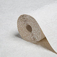 Graham & Brown Superfresco White Chunky swirl Textured Wallpaper