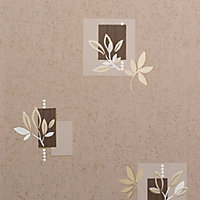 Graham & Brown Superfresco Mocha Leaf motif Wallpaper