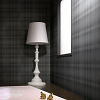 Graham & Brown Marcel wanders Charcoal Tartan Smooth Wallpaper