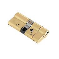 Yale AS Platinum Polished Brass effect Metal Single Euro Cylinder lock, (L)70mm
