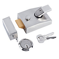 Yale Satin Chrome effect Deadlock Night latch, (H)70mm (W)100mm