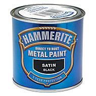 Hammerite Black Satin Metal paint, 0.25L
