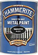Hammerite Smoothrite Black Gloss Metal paint, 5L