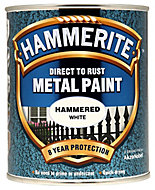 Hammerite White Hammered effect Metal paint, 0.75L