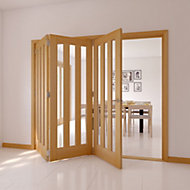 Saxton Vertical 3 panel Oak veneer Glazed Internal Folding Door LH, (H)2035mm (W)2374mm
