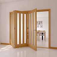 Saxton Vertical 3 panel 3 Lite Frosted Glazed Oak veneer LH Internal Tri-fold Door set, (H)2035mm (W)2146mm