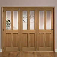 Elveden 4 panel 2 Lite Frosted Glazed Oak veneer LH Internal Tri-fold Door set, (H)2035mm (W)2146mm