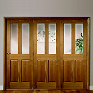 Elveden 4 panel 2 Lite Frosted Glazed Oak veneer RH Internal Tri-fold Door set, (H)2035mm (W)2374mm