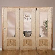 Severn 2 Panel Clear pine Glazed Internal Folding Door RH, (H)2035mm (W)2374mm