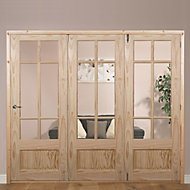 Tamar 7 Panel Clear pine Glazed Internal Folding Door RH, (H)2035mm (W)2146mm