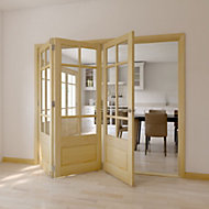 Tamar 7 Panel Clear pine Glazed Internal Folding Door LH, (H)2035mm (W)2374mm