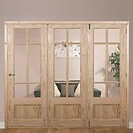 Tamar 7 Panel Clear pine Glazed Internal Folding Door RH, (H)2035mm (W)2374mm