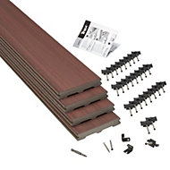 Trex® Moroccan red Composite Deck board (T)24mm (W)140mm (L)2400mm, Pack of 4