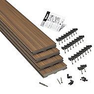 Trex® Torino brown Composite Deck board (T)24mm (W)140mm (L)2400mm, Pack of 4