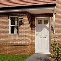 6 panel Primed White Glazed External Front door & frame RH or LH, (H)2125mm (W)907mm
