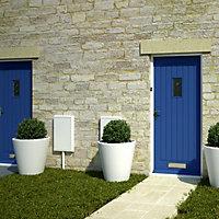 Cottage Primed White Glazed External Front door & frame with letter plate RH or LH, (H)2074mm (W)932mm