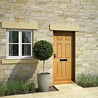 6 panel White oak veneer Unglazed External Front door & frame with letter plate RH or LH, (H)2125mm (W)907mm