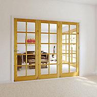 10 Lite Glazed Primed Knotty pine RH Internal Tri-fold Door set, (H)2035mm (W)2374mm
