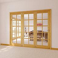 10 Lite Glazed Primed Knotty pine LH Internal Tri-fold Door set, (H)2035mm (W)2146mm