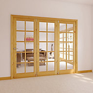 10 Lite Glazed Primed Knotty pine RH Internal Tri-fold Door set, (H)2035mm (W)2146mm