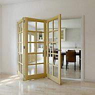 10 Lite Glazed Primed Clear pine LH Internal Tri-fold Door set, (H)2035mm (W)2374mm