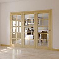 10 Lite Glazed Primed Clear pine RH Internal Tri-fold Door set, (H)2035mm (W)2374mm