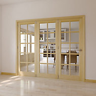 10 Lite Glazed Primed Clear pine RH Internal Tri-fold Door set, (H)2035mm (W)2374mm