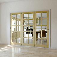 10 Lite Glazed Primed Clear pine LH Internal Tri-fold Door set, (H)2035mm (W)2146mm
