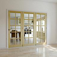 10 Lite Glazed Primed Clear pine RH Internal Tri-fold Door set, (H)2035mm (W)2146mm