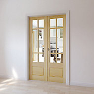 2 panel 6 Lite Glazed Primed Pine Internal French Door set, (H)1981mm (W)579mm