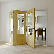 Severn 3 panel 1 Lite Glazed Primed Clear pine LH Internal Tri-fold Door set, (H)2035mm (W)2146mm