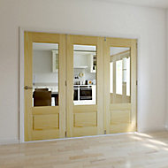 Severn 3 panel 1 Lite Glazed Primed Clear pine RH Internal Tri-fold Door set, (H)2035mm (W)2374mm