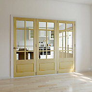 Tamar 3 panel 6 Lite Glazed Primed Clear pine RH Internal Tri-fold Door set, (H)2035mm (W)2146mm