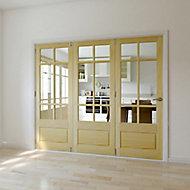 Tamar 3 panel 6 Lite Glazed Primed Clear pine LH Internal Tri-fold Door set, (H)2035mm (W)2374mm