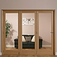 Lockwood 1 panel 1 Lite Glazed Shaker Oak veneer RH Internal Tri-fold Door set, (H)2035mm (W)2374mm