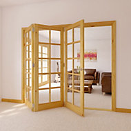 10 Lite Knotty pine Glazed Internal Folding Door, (H)2035mm (W)2374mm