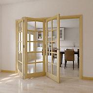 10 Lite Clear pine Glazed Internal Folding Door, (H)2035mm (W)2374mm