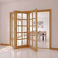 10 Lite Glazed Oak veneer RH Internal Tri-fold Door set, (H)2035mm (W)2374mm